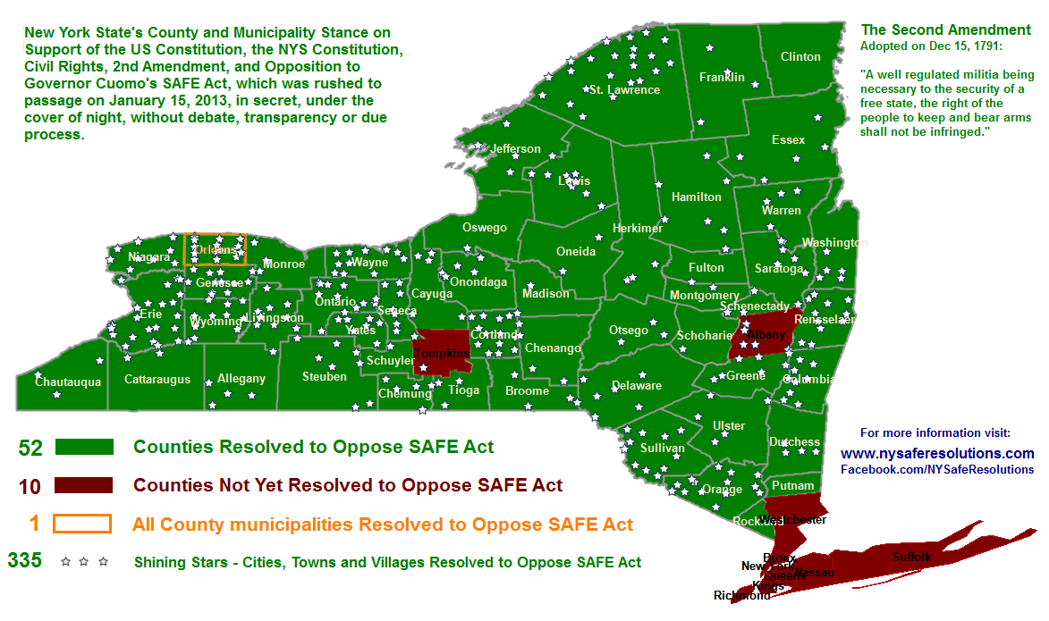 NY SAFE Resolutions Documenting County and Town resolutions on – Upstate Ny County Map