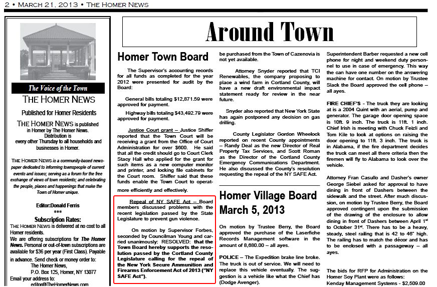 Town of Homer SAFE act 07 Mar 2013