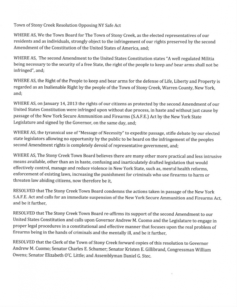 town of stony creek resolution opposing the ny safe act