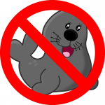 A cute seal with a red crossed circle over it signifying the resolutions against the state using county seals
