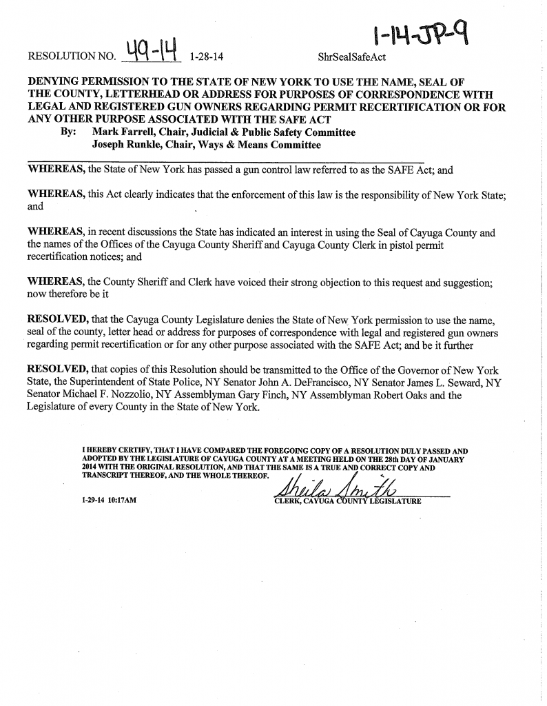 Cayuga County Seal Resolution