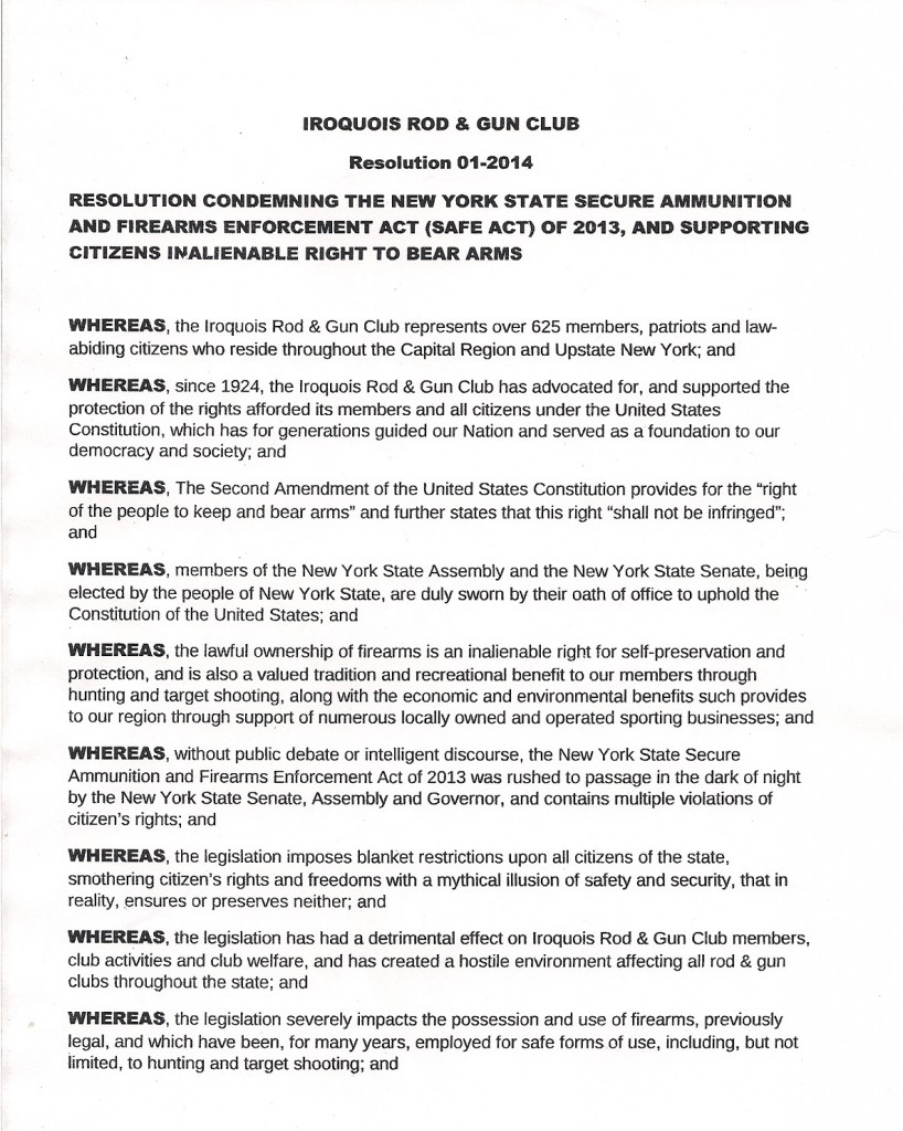 Iroquois Rod Gun Club Resolution Page 1