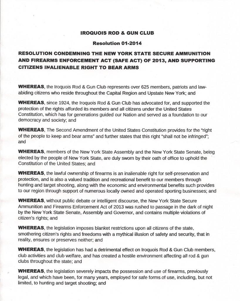 Iroquois Rod Gun Club Resolution Page 1