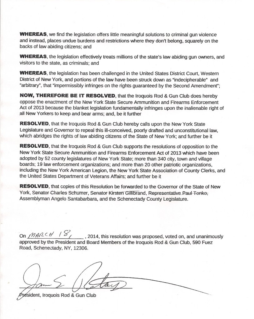 Iroquois Rod Gun Club Resolution Page 2